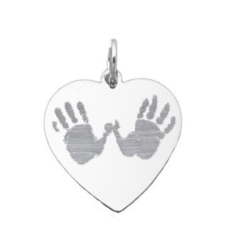 Your baby's, child's, or loved one's actual footprints image custom engraved on a sterling silver large heart pendant