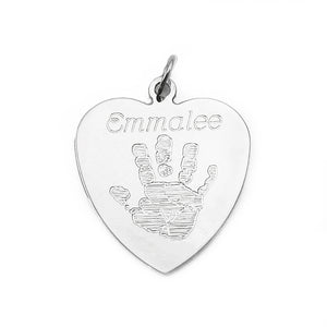 Your baby's, child's, or loved one's actual handprint image custom engraved on a sterling silver large heart pendant