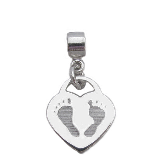 Your baby's or child's footprints image custom engraved on a sterling silver medium heart charm- compatible with Pandora bracelets