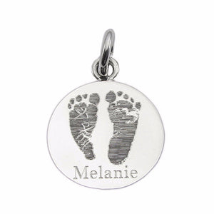 Your baby's, child's, or loved one's actual footprints image custom engraved on a sterling silver large round pendant