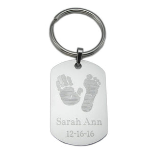 Your baby's, child's, or loved one's actual handprint image custom engraved on a stainless steel dog tag keychain