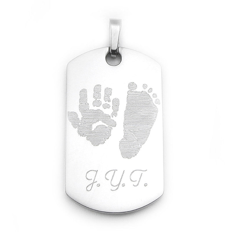 Your baby's, child's, or loved one's actual handprint & footprint image custom engraved on a stainless steel dog tag pendant