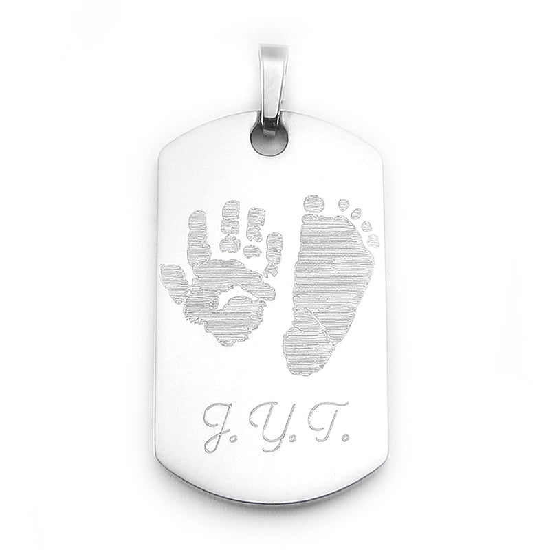 Custom Engraved Actual Handprints and Footprints Jewelry | Dog Tag Pendant- Stainless Steel {Prints on Both Sides}