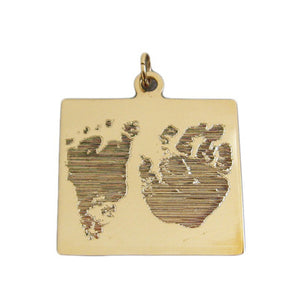 Your baby's, child's, or loved one's actual footprint & handprint image custom engraved on a 14K yellow gold square pendant