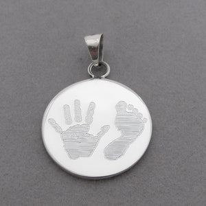 Sterling Silver XL Round Pendant- engraved with our Stock Handprint & Footprint Images