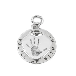 Your baby's or child's handprint image custom engraved on a sterling silver medium heart charm with personalized disk
