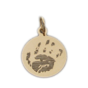 Your baby's, child's, or loved one's actual handprint image custom engraved on a 14K yellow gold small round charm
