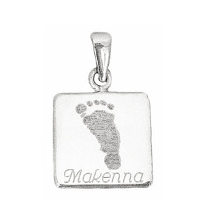 Your baby's, child's, or loved one's actual footprint image custom engraved on a sterling silver large square pendant
