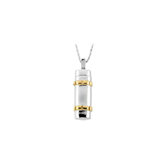 Cylinder Cremation Necklace | Sterling Silver, 14K Gold Plate