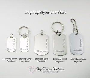 Dog Tag metal choices and sizes available