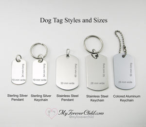 Dog Tag Styles and Sizes