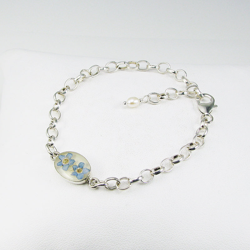 Double Real Forget Me Not Flowers in resin on sterling silver cable link bracelet. Twin miscarriage & baby loss memorial keepsake gift