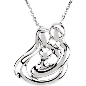 Embraced By The Heart Family Necklace- 1 Baby/Child | Sterling Silver