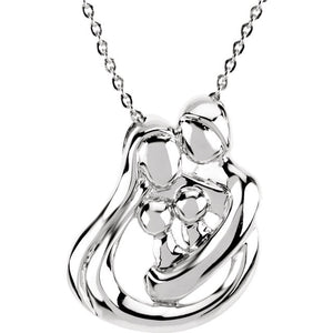 Embraced By The Heart Family Necklace- 2 Babies/Children | Sterling Silver