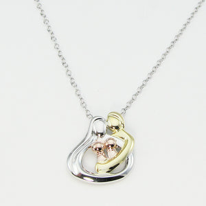 Embraced By The Heart Family Necklace- 2 Babies/Children | Tri-Color Silver/Gold