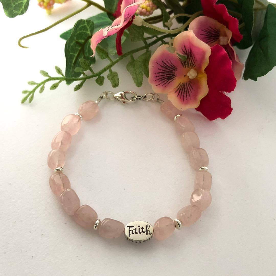 Faith Healing Heart Rose Quartz Bracelet for grief and healing broken hearts