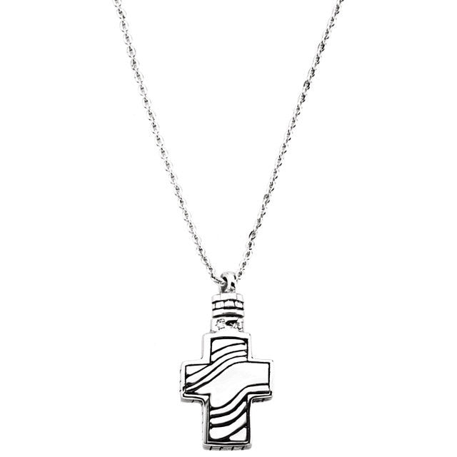 Fancy Cross Cremation Necklace | Sterling Silver