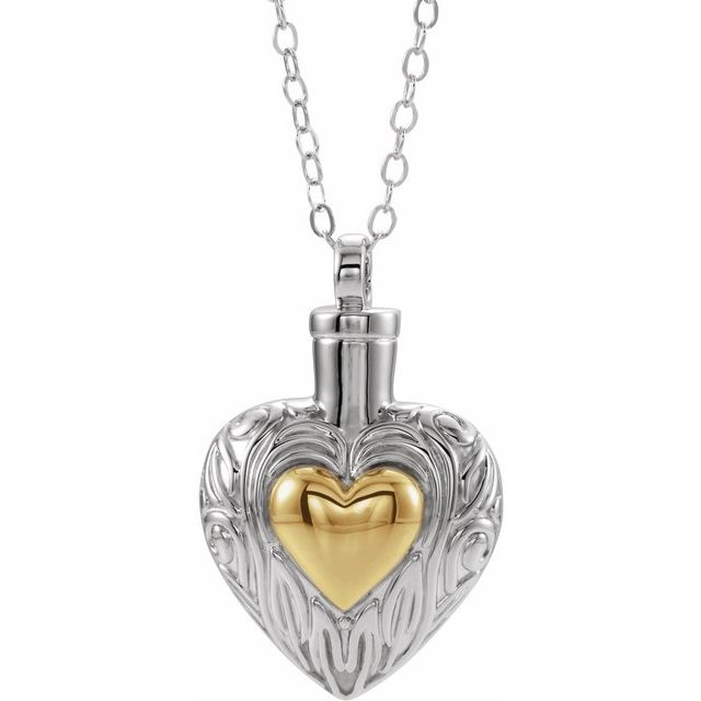 Fancy Heart Cremation Necklace | Sterling Silver, 14K Gold Plate