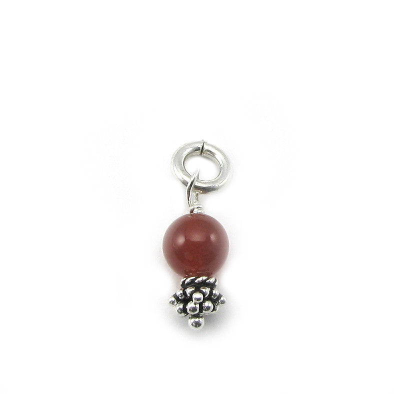 Carnelian Gemstone Pomegranate Pregnancy-Fertility Charm | Sterling Silver