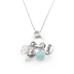 Pregnancy-Fertility Gemstone Charm Necklace with Rose Quartz, Moonstone, Chalcedony | Sterling Silver