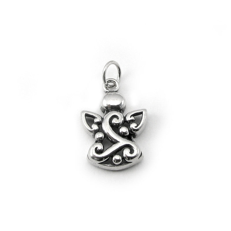 Sterling Silver large filigree angel charm