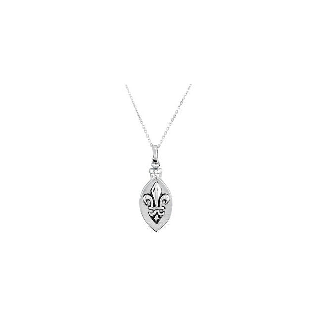 Fleur de Lis Oval Cremation Necklace | Sterling Silver
