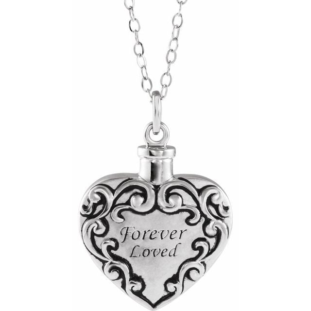 Forever Loved Heart Cremation Necklace | Sterling Silver