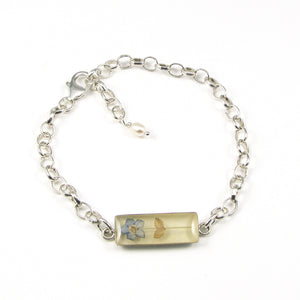 Real Forget Me Not Flower in resin on sterling silver cable link bracelet. Miscarriage & baby loss memorial keepsake gift