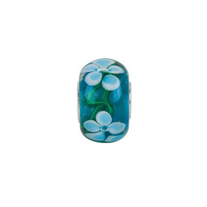 Forget Me Not Large Hole Glass Bead- Pandora Compatible