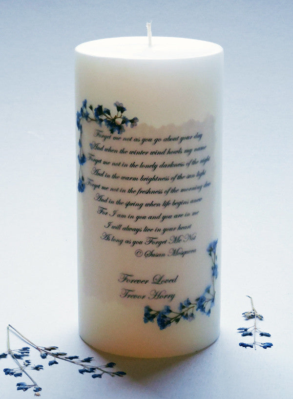 Forget-Me-Not Poem 3 x 6 Personalized Memorial Candle