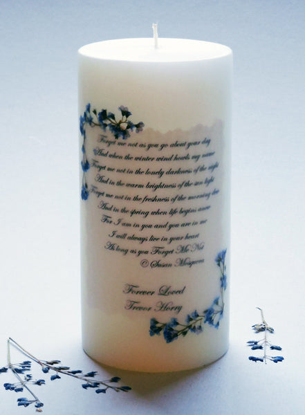 Forget Me Not Poem 3 X 6 Personalized Memorial Candle My