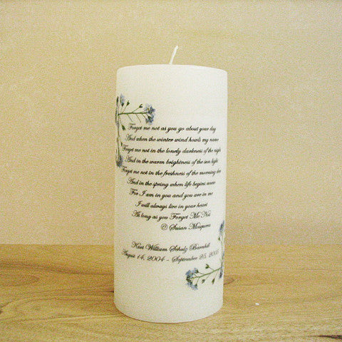 personalized memorial candles my forever child