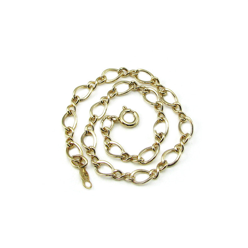 Twist Oval Link Charm Bracelet- Yellow Gold Filled