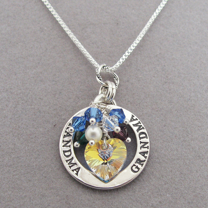 Grandma Disk Necklace with Swarovski crystal heart and Grandchildren's crystal birthstone dangles