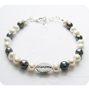 Grandma of Angels Memorial Bracelet | White and Grey Freshwater Pearls | Sterling Silver