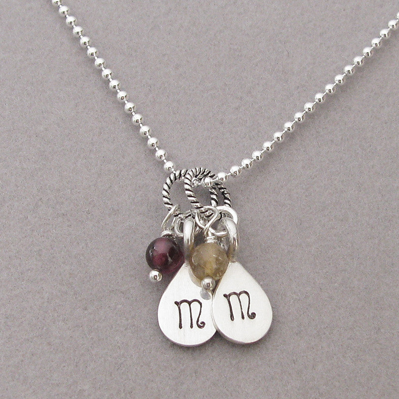 Hand Stamped Initial Charm- Mini Teardrop; with January-Garnet and November-Citrine gem dangles