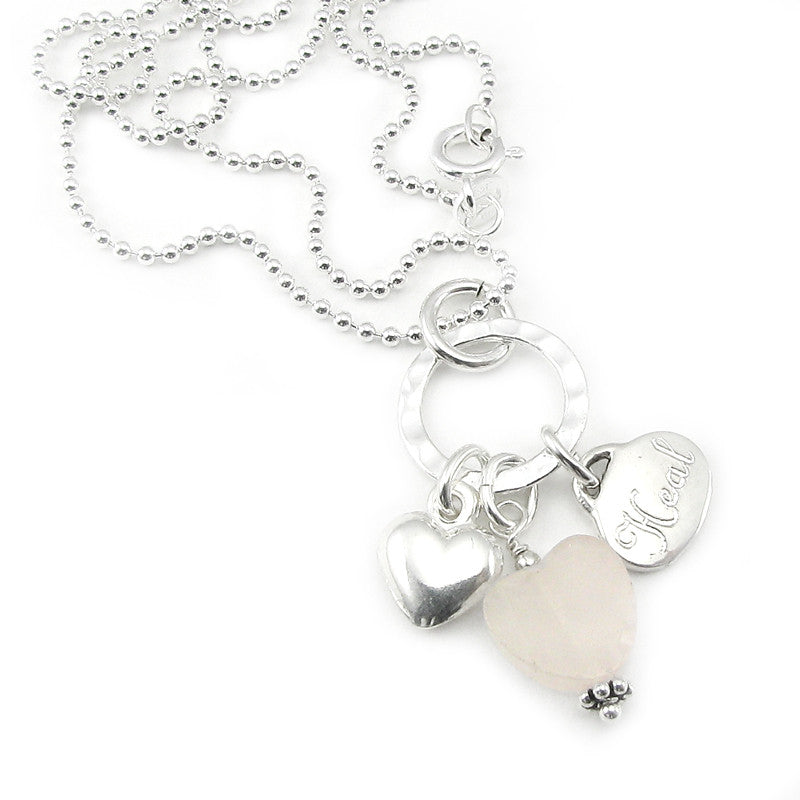 Rose Quartz Healing Heart Charm Necklace in Sterling Silver