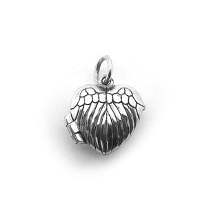 Sterling Silver Angel Wings Heart Prayer Box Charm