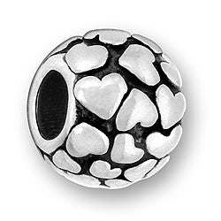 Heart Ball Large Hole Spacer Bead- Pandora Compatible | Sterling Silver