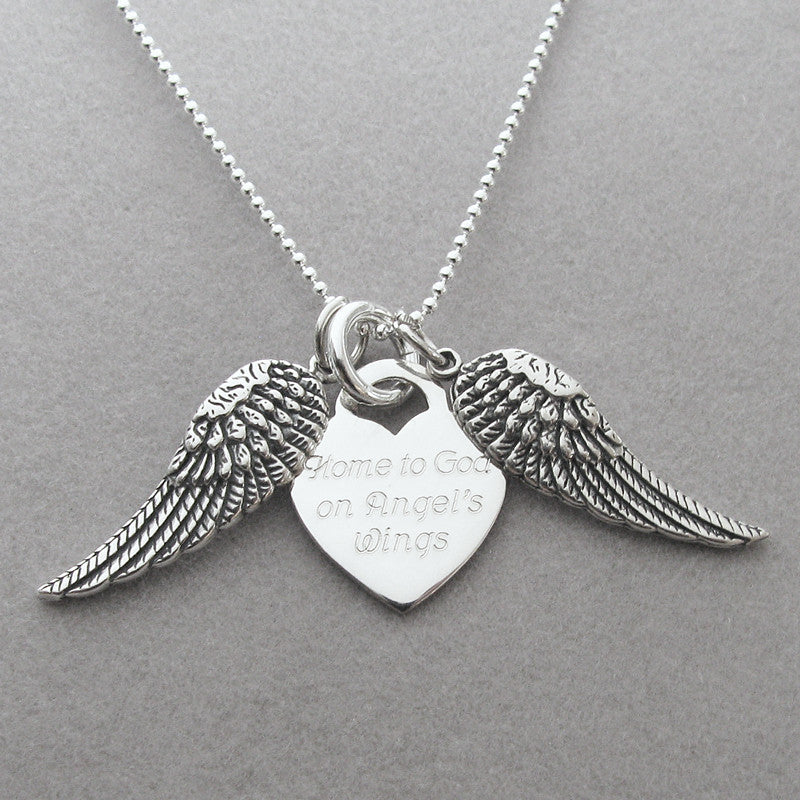 Home to God on Angels Wings Personalized Memorial Necklace - My ... 35d03cf80