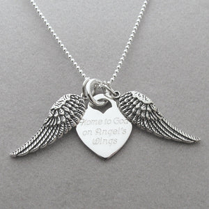 Home to God on Angel's Wings Memorial Necklace- shown open