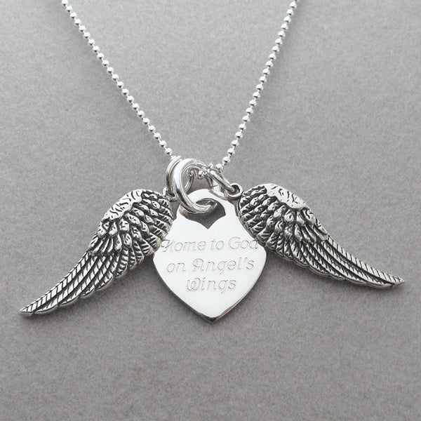 Home To God On Angels Wings Personalized Memorial Necklace