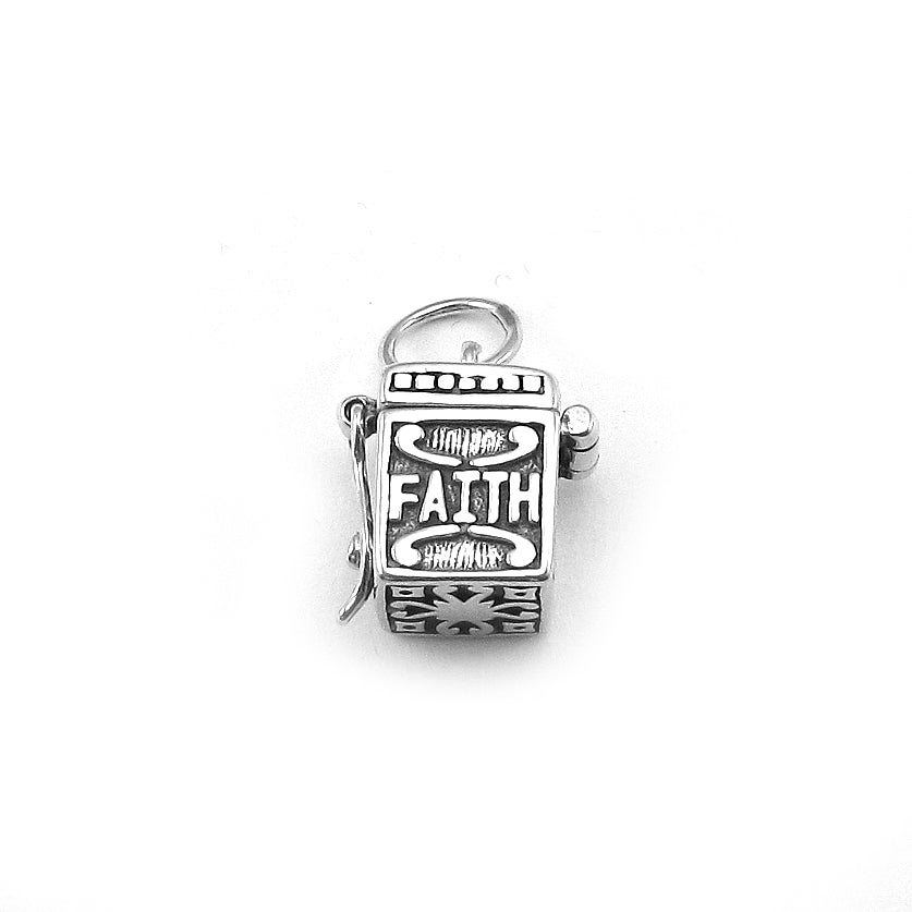 Hope, Faith, Love sterling silver prayer box charm with hinge opening