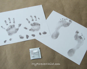 Use our no-mess no-fuss inkless wipe imprint kit to capture your baby, chiild, or adult loved one's handprint, footprint, or fingerprint impressions