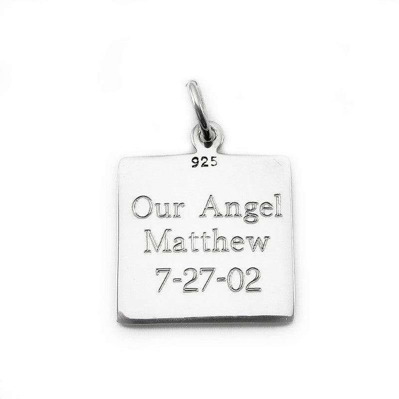 LIL Care Angel Sterling Silver Square Charm made by My Forever Child to support SIDS & Stillbirth Research at First Candle Organization