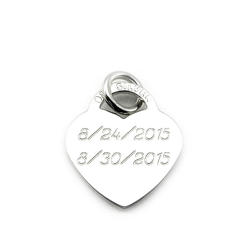 Sterling Silver Personalized Medium Heart Charm in Cursive Font