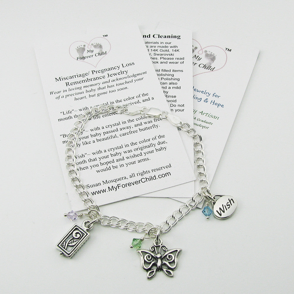 Miscarriage & Infant Loss Memorial Jewelry | Miscarriage Charm Bracelet in Sterling Silver | My Forever Child
