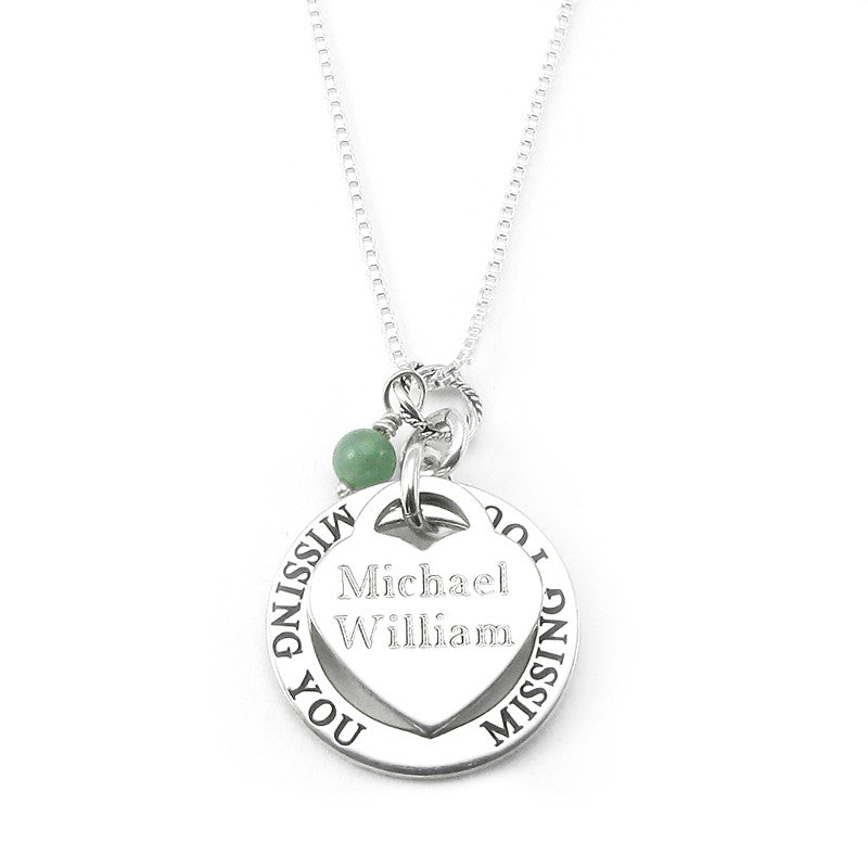 Missing you personalized heart charm memorial necklace sterling missing you personalized heart charm memorial necklace sterling silver aloadofball Image collections