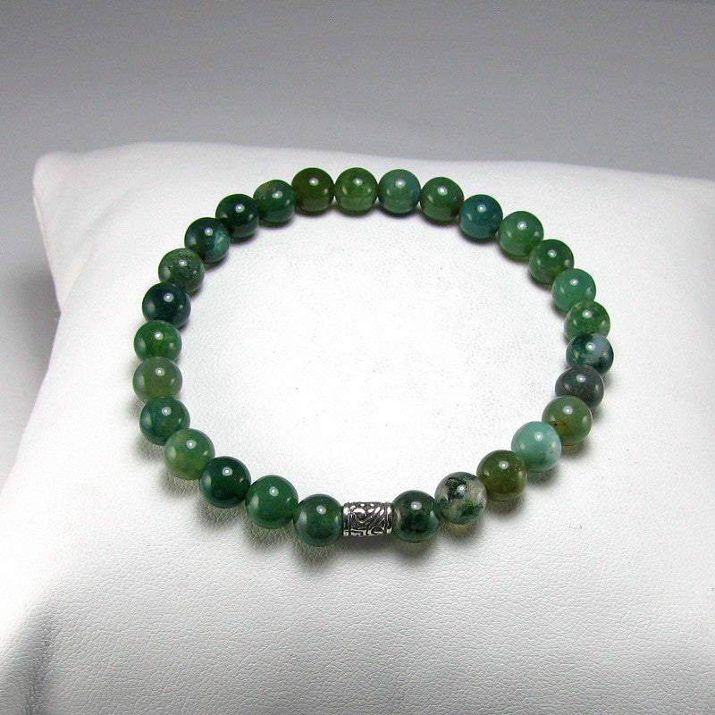 Moss Agate Gemstone Fertility-Pregnancy Bracelet- Stretch