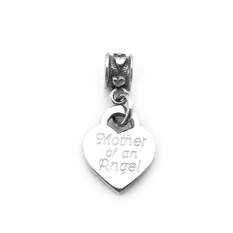 Mother of an Angel charm with mini hearts bead dangle for Pandora bracelets